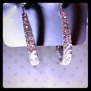 Glitzy White Hoop Earrings